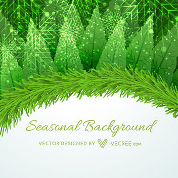 Xmas Card with Floral & Branches - vector gratuit #164435