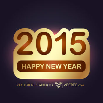2015 Gold Sticker New Year Background - vector gratuit #164445