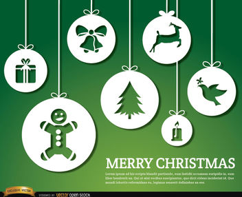 Merry Christmas hanging ornaments background - Free vector #164505
