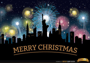 Christmas fireworks New York skyline - Free vector #164525