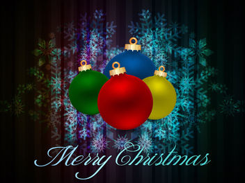 Colorful Xmas Balls on Fluorescent Snowflakes - Free vector #164545