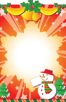 Starburst Xmas Background with Snowman - Free vector #164555