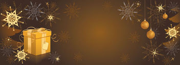 Decorative Golden Christmas Header - vector gratuit #164575