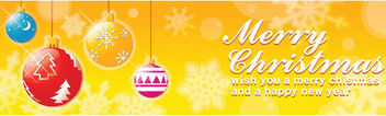 Christmas Orange Banner with Multicolor Baubles - Free vector #164585