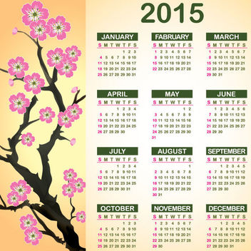 Abstract Flower Branch 2015 Calendar - vector #164595 gratis