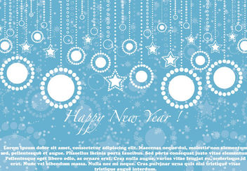 Blue Christmas Background with Flat Hanging Ornaments - vector gratuit #164615