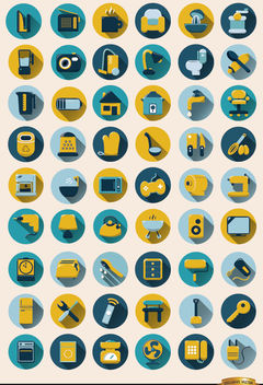 54 Home objects round icons set - vector #164635 gratis