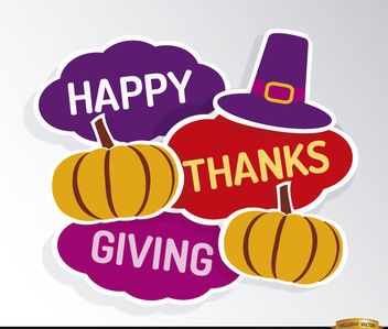 Happy Thanksgiving hat pumpkins background - Free vector #164645