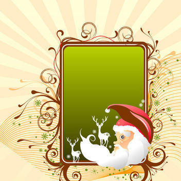 Swirling Greeting Card with Deer & Santa - Free vector #164655