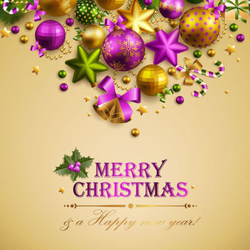 Christmas Greeting Card with Colorful 3D Ornaments - vector gratuit #164705