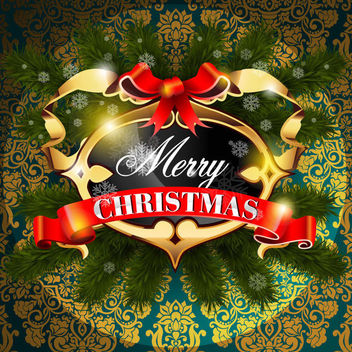 Decorative Golden Christmas Frame on Floral Pattern - vector gratuit #164735