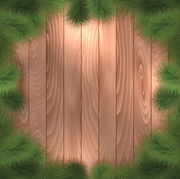 Green Christmas Tree Branch Frame on Wood Board - vector gratuit #164755