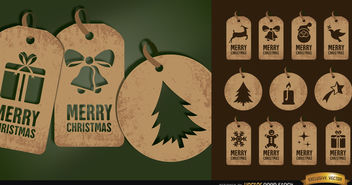 11 brown Christmas tag cards set - Free vector #164765
