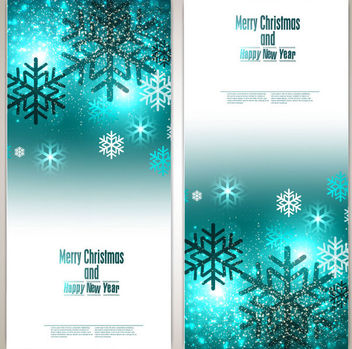 Glowing Blue Vertical Christmas Brochure - Free vector #164805