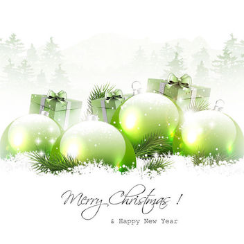 Snowy Christmas Background with Green Baubles - vector gratuit #164865