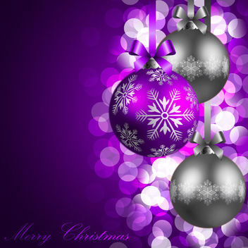 Glowing Bokeh Christmas Balls Purple Background - Free vector #164965
