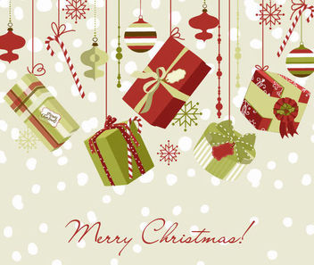 Christmas Ornaments & Gift Box Background - vector #164975 gratis