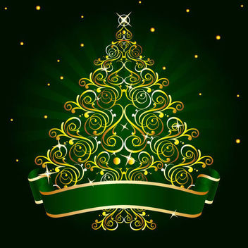 Golden Floral Christmas Tree - Free vector #164995