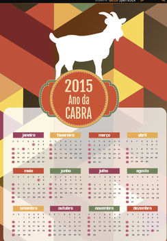 2015 Year of goat polygon calendar Portuguese - vector gratuit #165045