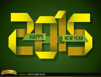 2015 Folded paper happy New Year - Free vector #165075