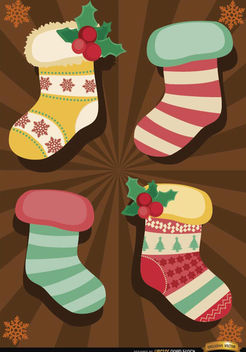 Christmas socks radial stripes background - vector gratuit #165105