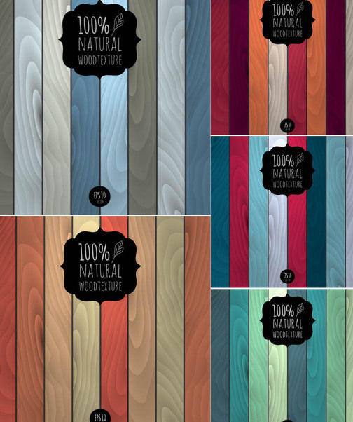 Simplistic Abstract Wooden Texture Background Set - Free vector #165115