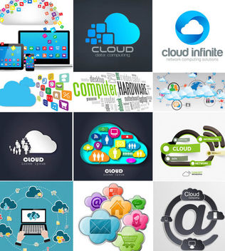 Cloud Computing Infographic & Background Set - vector gratuit #165135