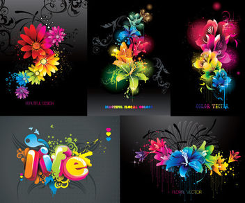 Creative Colorful Floral Background Pack - vector gratuit #165145