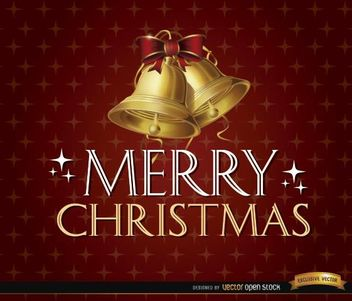 Merry Christmas glitters bells background - Free vector #165205