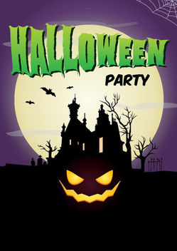 Full Moon Hunted Halloween Poster Template - vector gratuit #165285
