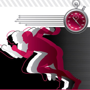 Dynamic Sporting People with Running Clock - vector gratuit #165325