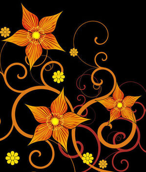 Yellow Orange Abstract Flower Swirls on Black - vector gratuit #165405