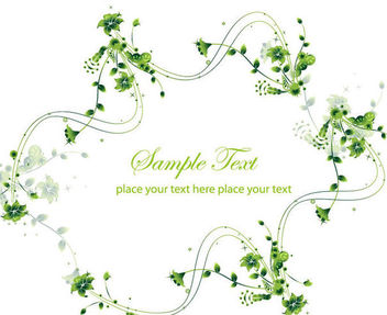 Creative Swirling Floral Frame Green Card - Kostenloses vector #165415