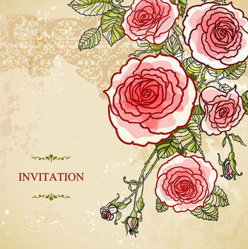Abstract Roses Vintage Wedding Invitation - Free vector #165435