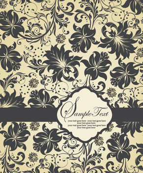 Floral Pattern Template Invitation Card - Free vector #165465