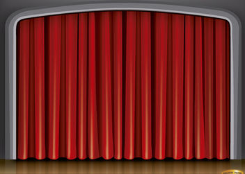 Stage red curtain background - vector gratuit #165485
