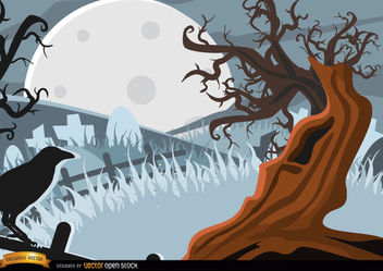Creepy Crow and tree background - vector #165545 gratis