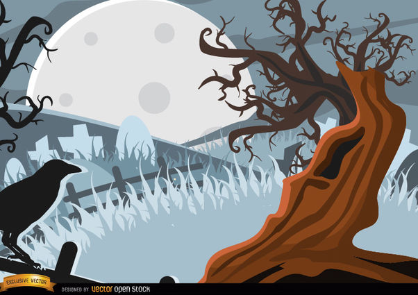 Creepy Crow and tree background - Kostenloses vector #165545