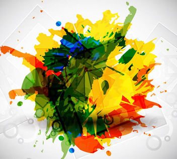 Grungy Colorful Stain with Broken Squares - Free vector #165585