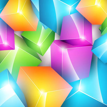 Colorful Crystallized 3D Cubes Background - vector gratuit #165635