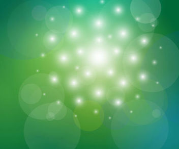 Shiny Bokeh Bubbles on Green Background - Free vector #165725