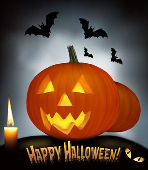 Creepy Pumpkin & Bats Halloween Night Background - Free vector #165775