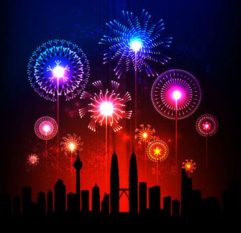 Glowing Firework over a City - vector gratuit #165815
