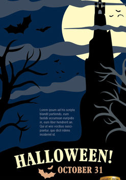 Halloween Night Party Poster with Hunted House & Dead Trees - vector gratuit #165835