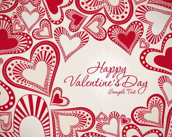 Vintage Decorative Red Valentine Background - vector gratuit #165865