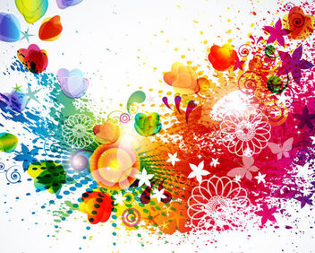 Abstract Colorful Splattered Floral Background - vector gratuit #166095