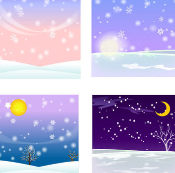 4 Winter Themed Snowy Backgrounds - Free vector #166165