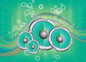 Abstract Speakers Waves & Circles Green Background - vector #166205 gratis