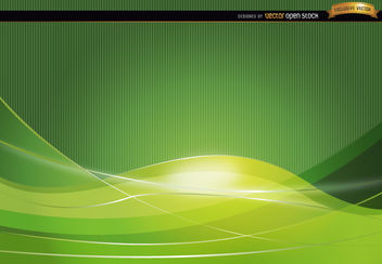 Green wavy abstract background - Free vector #166215