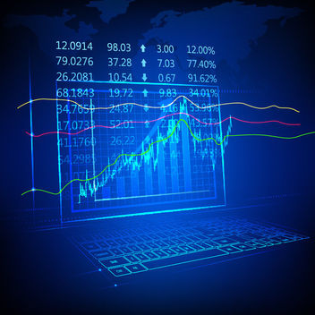 Blue Tech Fluorescent Financial Chart Background - Free vector #166225